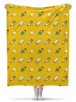 """Плед флисовый 130х170 см """"Поп арт дизайн. Мороженое паттерн"""" - радуга, стильный, модный, попарт, летний"""