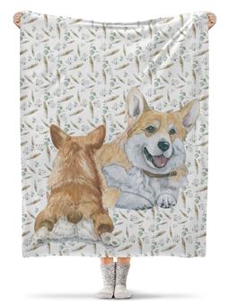 """Плед флисовый 130х170 см """"Моя любимая собака"""" - зеленый, рыжий, природа, корги, вельшкорги"""