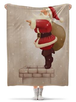 """Плед флисовый 130х170 см """"Новый год"""" - дед мороз"""