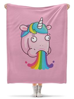"""Плед флисовый 130х170 см """"Unicorn's Rainbow / Радуга Единорога"""" - животные, радуга, rainbow, unicorn, единорог"""