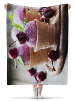 "Плед флисовый 130х170 см ""Вишневое мороженное"" - арт, мороженное, вишня"