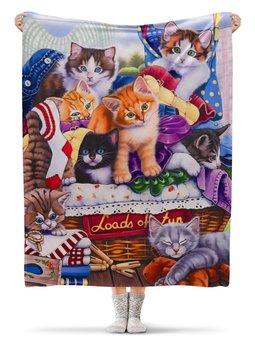 """Плед флисовый 130х170 см """"Котятки """" - животные, коты, кошатникам"""