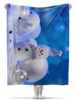 """Плед флисовый 130х170 см """"Снеговик"""" - новый год, снег, рождество, снеговик"""