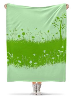 """Плед флисовый 130х170 см """"Летняя трава"""" - бабочки, лето, цветы, трава, стрекозы"""
