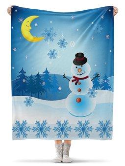 """Плед флисовый 130х170 см """"СНЕГОВИК"""" - новый год, снежинки, снеговик, стиль эксклюзив креатив красота яркость, арт фэнтези"""