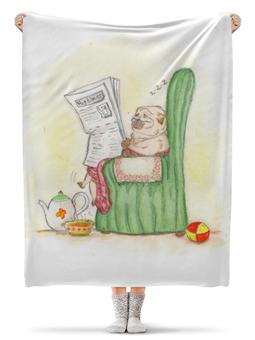 """Плед флисовый 130х170 см """"Мопс в кресле"""" - арт, рисунок, собака, мопс"""