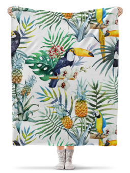 """Плед флисовый 130х170 см """"Тропические птицы"""" - лето, фрукты, пальма, ананас, жара"""