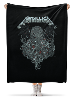 "Плед флисовый 130х170 см ""Metallica"" - рок, metallica, группы, метал, металлика"