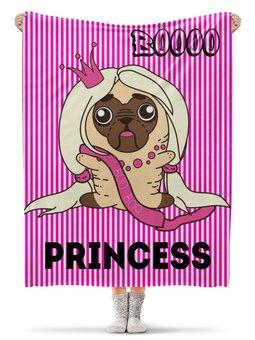 """Плед флисовый 130х170 см """"Принцесса"""" - щенок, собака, розовый, принцесса, мопс"""