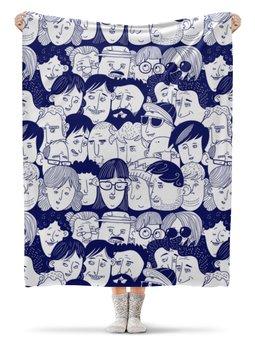 """Плед флисовый 130х170 см """"Многоликий"""" - голова, толпа, лица, люди"""