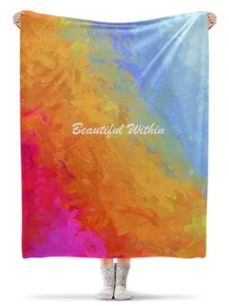 """Плед флисовый 130х170 см """"Яркий радужный дизайн с надписью Beautiful"""" - арт, радуга, яркий, акварель, градиент"""