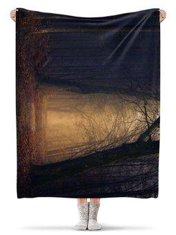 "Плед флисовый 130х170 см ""Туман в лесу"" - фото, природа, лес, туман"