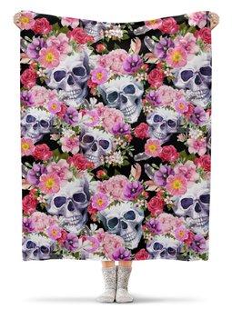 """Плед флисовый 130х170 см """"ЧЕРЕП ФЭНТЕЗИ"""" - черепа, абстракция, цветочный узор, стиль эксклюзив креатив красота яркость, арт фэнтези"""
