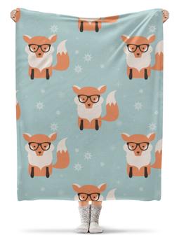 "Плед флисовый 130х170 см ""Лисички"" - животные, очки, лисички"
