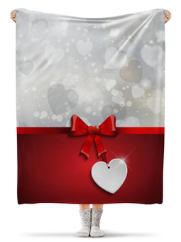"""Плед флисовый 130х170 см """"Сердца"""" - любовь, сердца, день святого валентина, 14 февраля, день влюблённых"""