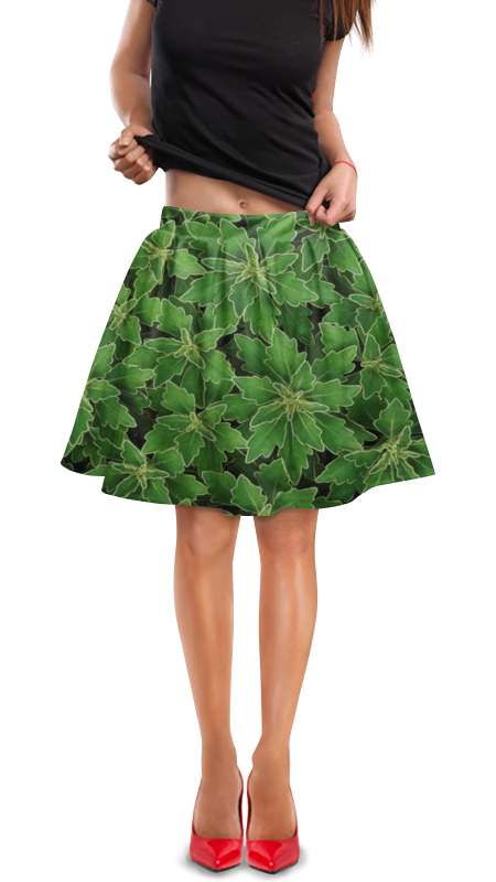 Юбка в складку Printio Зеленые листья юбка в складку printio зеленые линии