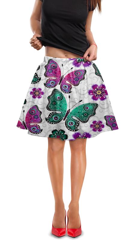 цены Юбка в складку Printio Цветные бабочки