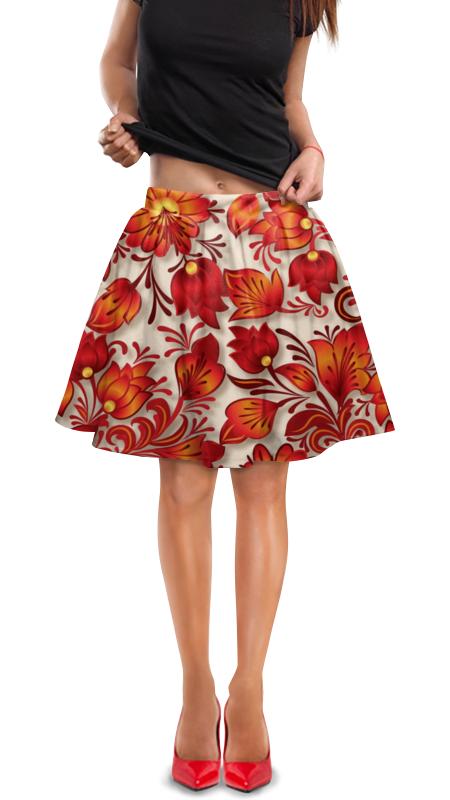 Юбка в складку Printio Цветы юбка в складку printio модная