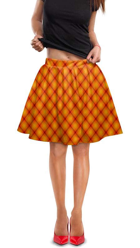 Юбка в складку Printio Клетка оранжевая