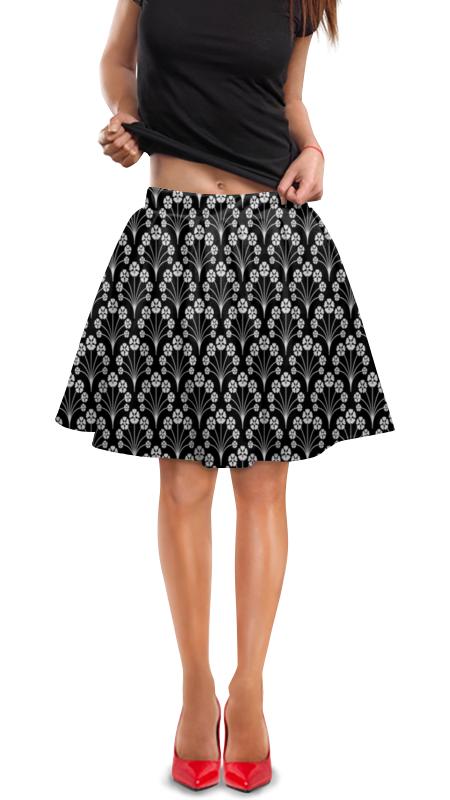 Юбка в складку Printio Цветы черно-белые юбка в складку printio черно белые узоры