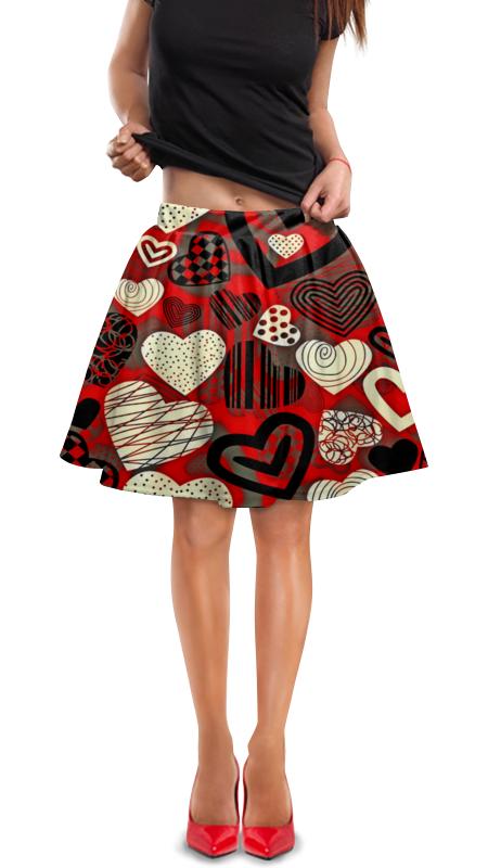 Юбка в складку Printio Сердце юбка в складку printio многоцветный