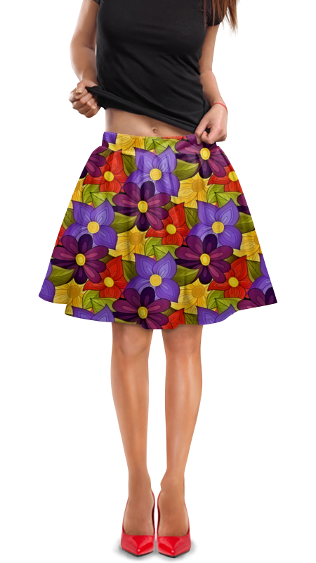 Юбка в складку Printio Цветочки юбка в складку printio собачки