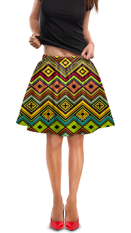 Юбка в складку Printio Узор многоцветный юбка в складку printio многоцветный