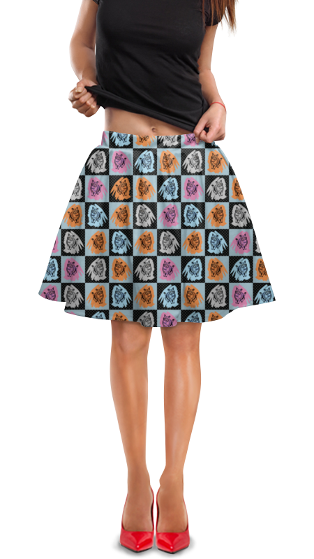 Юбка в складку Printio Коты в клеточку полуприлегающая юбка в клеточку dream world полуприлегающая юбка в клеточку