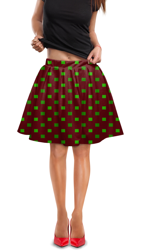 Юбка в складку Printio Зеленые квадраты юбка в складку printio зеленые линии