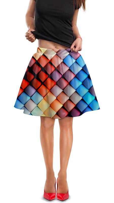 Юбка в складку Printio Кубики абстракция юбка в складку printio радужная абстракция
