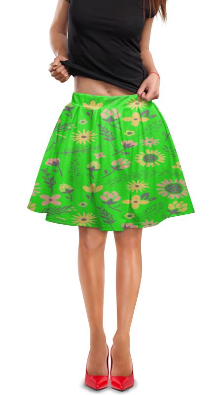 Юбка в складку Printio Цветы юбка в складку printio собачки