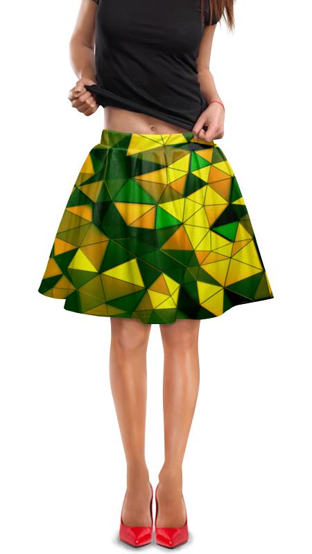 Юбка в складку Printio Желто-зеленые стекла