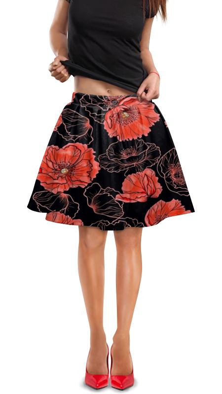 Юбка в складку Printio Цветы юбка в складку printio мелкий горошек
