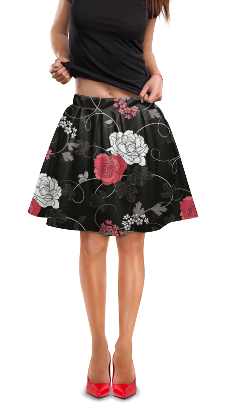 Юбка в складку Printio Красная и белая розы юбка белая ido ут 00015983