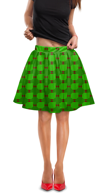 Юбка в складку Printio Зеленые ромбы юбка в складку printio зеленые линии