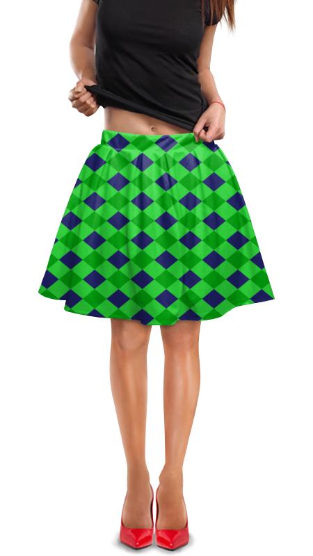 Юбка в складку Printio Сине-зеленые квадраты юбка в складку printio зеленые линии
