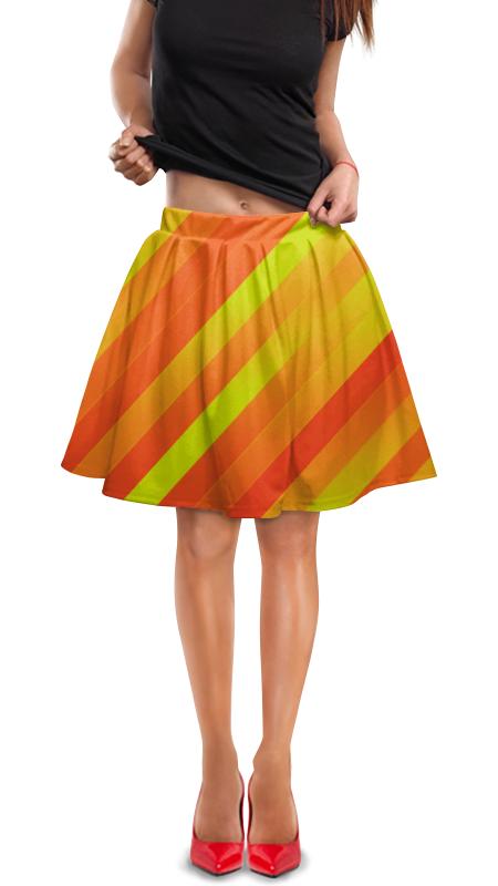 Юбка в складку Printio Желто-оранжевые линии юбка в складку printio зеленые линии