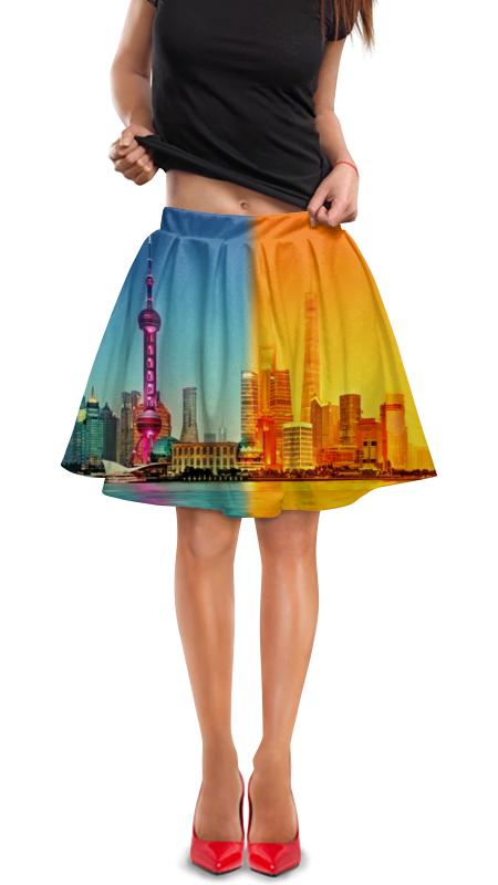 Юбка в складку Printio Город в красках юбка в складку printio шторм