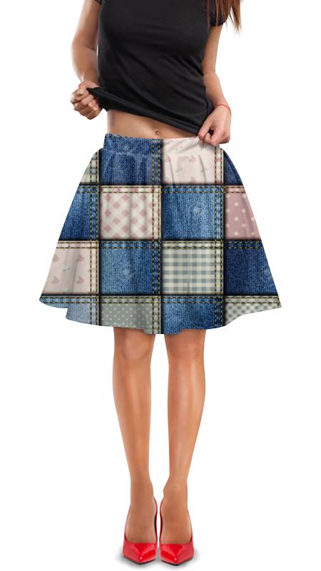 Юбка в складку Printio Иллюзия джинсовой ткани. сшитые квадраты. юбка короткая из джинсовой ткани