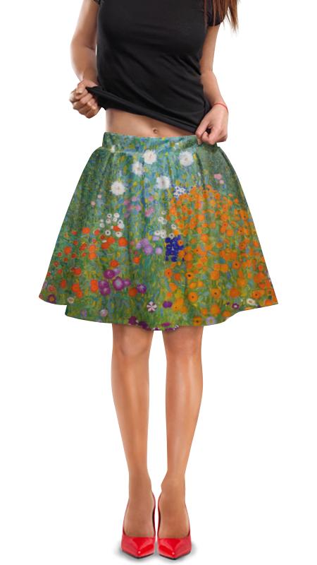 Юбка в складку Printio Цветочный сад (густав климт) юбка в складку printio сад земных наслаждений