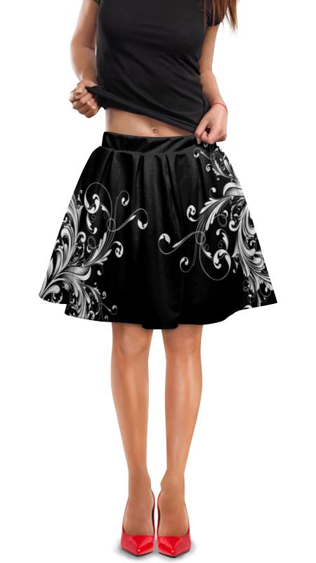 Юбка в складку Printio Белые узоры юбка в складку printio черно белые узоры