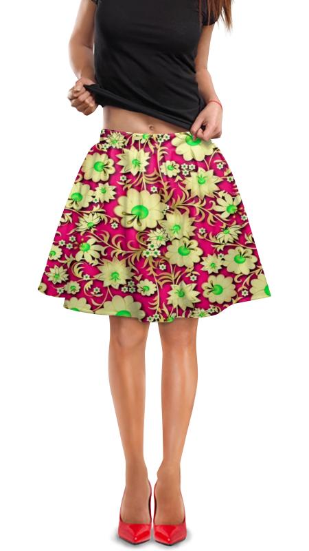 Юбка в складку Printio Цветочки юбка в складку printio мелкий горошек
