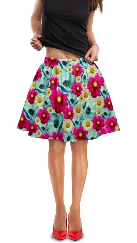 Юбка в складку Printio Цветочный сад юбка в складку printio сад земных наслаждений