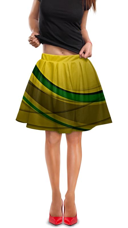 Юбка в складку Printio Линии юбка в складку printio зеленые линии