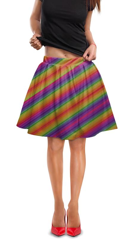 Юбка в складку Printio Линии радуги юбка в складку printio зеленые линии