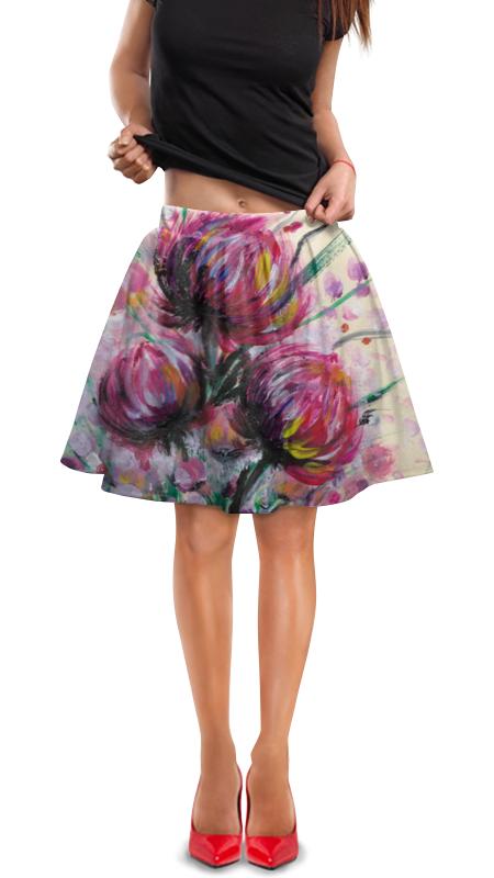 Юбка в складку Printio Розовые хризантемы