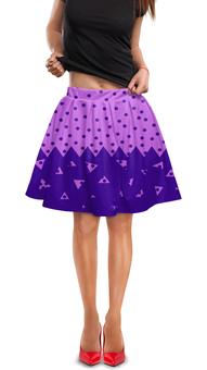 """Юбка в складку """"Падающие треугольники"""" - сиреневый, фиолетовый, треугольник, горох, половина"""