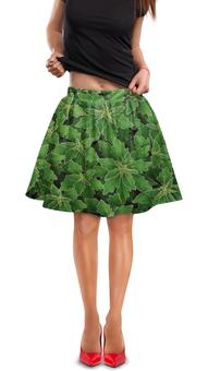 """Юбка в складку """"Зеленые листья"""" - цветы, растение, лист, природа, куст"""