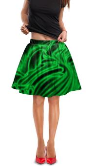 """Юбка в складку """"Яркий зеленый"""" - зеленый, полосы, рисунок, линии, блеск"""