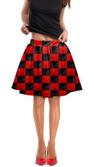 """Юбка в складку """"Красная и чёрная клетка"""" - дизайн, клетка, красное и чёрное"""